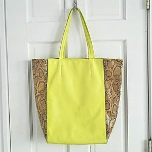 Ann Taylor Olli Snakeskin Color Pop Tote